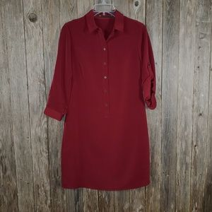 Outback Red Burgundy Maroon Tunic Shirt Dress